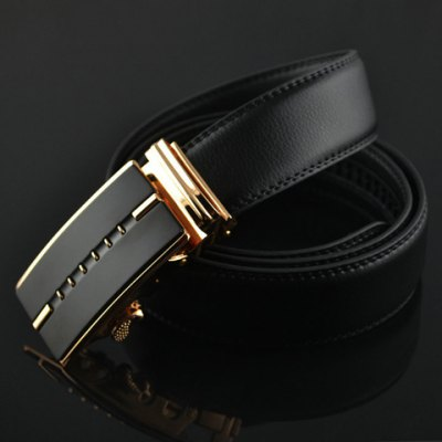 Stylish Hollow Out Stripy Alloy Buckle Faux Leather Belt For Men