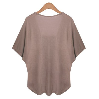 Sexy V-Neck Dolman Sleeve Faux Twinset Design T-Shirt For Women
