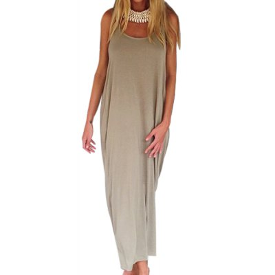 Casual U Neck Sleeveless Backless Loose-Fitting Dress For WomenSleeveless Dresses<br>Casual U Neck Sleeveless Backless Loose-Fitting Dress For Women<br><br>Style: Brief<br>Material: Cotton Blend<br>Silhouette: Beach<br>Dresses Length: Ankle-Length<br>Neckline: U Neck<br>Sleeve Length: Sleeveless<br>Pattern Type: Solid<br>With Belt: No<br>Season: Summer<br>Weight: 0.306kg<br>Package Contents: 1 x Dress
