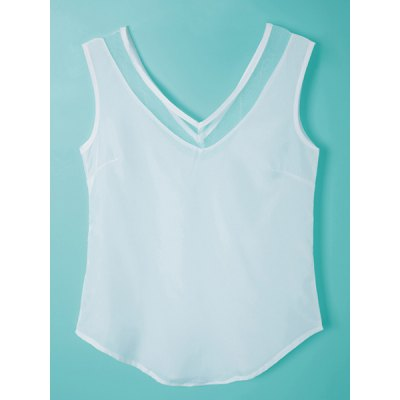 Chic V-Neck Solid Color Gauze Spliced Tank Top For Women