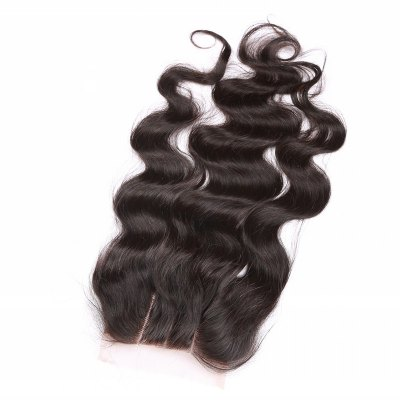 6A 4x4 Inch Fashion Body Wave Natural Black Brazilian Virgin Hair Top Closure with Bleached Knots For Women