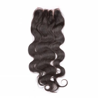 6A 4x4 Inch Fashion Body Wave Bleached Knot Natural Black Brazilian Virgin Hair Top Closure For Women