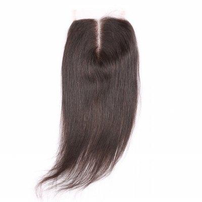 6A 4x4 Inch Fashion Straight Middle Part Natural Black Brazilian Virgin Hair Top Closure For Women