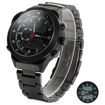 Kaletco 1040 Compass Display Double Movt Male LED Sports Military Watch with Stainless Steel Band