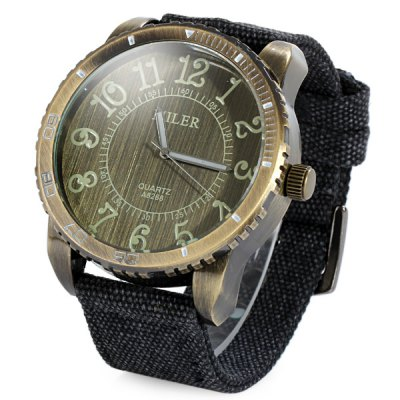 Miler A8268 Big Bronze Dial Quartz Watch with Canvas Strap for MenMens Watches<br>Miler A8268 Big Bronze Dial Quartz Watch with Canvas Strap for Men<br><br>Available Color: Black,Red,Blue,Green<br>Band material: Canvas<br>Brand: Miler<br>Case material: Stainless Steel<br>Clasp type: Pin buckle<br>Display type: Analog<br>Movement type: Quartz watch<br>Package Contents: 1 x Miler A8268 Watch<br>Package size (L x W x H): 26.9 x 6.1 x 2.2 cm / 10.57 x 2.40 x 0.86 inches<br>Package weight: 0.139 kg<br>Product size (L x W x H): 25.9 x 5.1 x 1.2 cm / 10.18 x 2.00 x 0.47 inches<br>Product weight: 0.089 kg<br>Shape of the dial: Round<br>The band width: 2.5 cm / 0.98 inches<br>The dial diameter: 5.1 cm / 2.00 inches<br>The dial thickness: 1.2 cm / 0.47 inches<br>Watch style: Casual<br>Watches categories: Male table