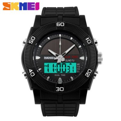 Skmei 0981 Solar Power Dual Movt LED Watch Water Resistant Sports WristwatchSports Watches<br>Skmei 0981 Solar Power Dual Movt LED Watch Water Resistant Sports Wristwatch<br><br>Available Color: Black,Red,Blue,Green<br>Band material: Rubber<br>Brand: Skmei<br>Case material: PC<br>Clasp type: Pin buckle<br>Display type: Analog-Digital<br>Movement type: Double-movtz<br>Package Contents: 1 x Skmei 0981 LED Watch<br>Package size (L x W x H): 25 x 5.7 x 2.3 cm / 9.83 x 2.24 x 0.90 inches<br>Package weight: 0.1 kg<br>People: Unisex table<br>Product size (L x W x H): 24 x 4.7 x 1.3 cm / 9.43 x 1.85 x 0.51 inches<br>Product weight: 0.050 kg<br>Shape of the dial: Round<br>Special features: Alarm Clock, Stopwatch, Date, Day<br>The band width: 2.2 cm / 0.87 inches<br>The dial diameter: 4.7 cm / 1.85 inches<br>The dial thickness: 1.3 cm / 0.51 inches<br>Watch style: Outdoor Sports, LED, Military<br>Water resistance : 50 meters