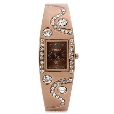 Fuhua 695 Female Diamond Quartz Watch Alloy Band BraceletWomens Watches<br>Fuhua 695 Female Diamond Quartz Watch Alloy Band Bracelet<br><br>Available Color: Gold<br>Band material: Alloys<br>Brand: Fuhua<br>Case material: Alloy<br>Clasp type: Conjoined clasp<br>Display type: Analog<br>Movement type: Quartz watch<br>Package Contents: 1 x Fuhua 695 Watch<br>Package size (L x W x H): 6.8 x 7.2 x 3 cm / 2.67 x 2.83 x 1.18 inches<br>Package weight: 0.087 kg<br>Product size (L x W x H): 5.8 x 6.2 x 2 cm / 2.28 x 2.44 x 0.79 inches<br>Product weight: 0.037 kg<br>Shape of the dial: Rectangle<br>Style: Fashion&amp;Casual, Bracelet<br>The band width: 1.2 cm / 0.47 inches<br>The dial diameter: 2.0 cm / 0.79 inches<br>The dial thickness: 0.8 cm / 0.31 inches<br>Watches categories: Female table