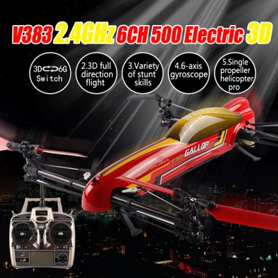 WLtoys V383 500 Electric 3D Inverted Flight 6 Axis Gyro 2.4GHz 6CH RC Quadcopter Stunt UFORC Quadcopters<br>WLtoys V383 500 Electric 3D Inverted Flight 6 Axis Gyro 2.4GHz 6CH RC Quadcopter Stunt UFO<br><br>Brand: WLtoys<br>Channel: 6-Channels<br>Detailed Control Distance: Under 500m<br>Functions: Up/down, Turn left/right, Sideward flight, Hover, Forward/backward, 3D stunt, 3D rollover<br>Kit Types: RTF<br>Level: Advanced Level<br>Material: Plastic, Electronic Components<br>Motor Type: Brushless Motor<br>Package Contents: 1 x Quadcopter, 1 x Transmitter, 1 x Manual, 1 x Balance Charger, 1 x Adapter, 1 x 14.8V 2200mAh Battery, 8 x Blade<br>Package size (L x W x H): 56.00 x 51.00 x 15.00 cm / 22.05 x 20.08 x 5.91 inches<br>Package weight: 2.8500 kg<br>Remote Control: 2.4GHz Wireless Remote Control<br>Transmitter Power: 4 x 1.5V AA battery(not included)<br>Type: RC Simulators, Quadcopter