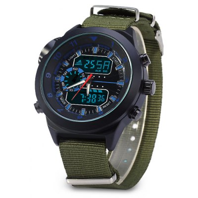 Compass Display Double Movt Male LED Sports Military Watch with Canvas Band