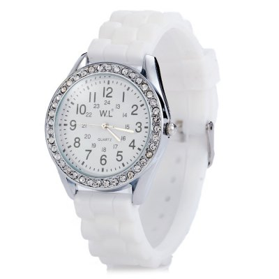 WL Candy Colors Diamond Ladies Quartz Watch with Rubber BandWomens Watches<br>WL Candy Colors Diamond Ladies Quartz Watch with Rubber Band<br><br>Available Color: Black,Blue,Pink,White<br>Band material: Rubber<br>Brand: WL<br>Case material: Alloy<br>Clasp type: Pin buckle<br>Display type: Analog<br>Movement type: Quartz watch<br>Package Contents: 1 x WL Watch<br>Package size (L x W x H): 25.20 x 4.80 x 1.80 cm / 9.92 x 1.89 x 0.71 inches<br>Package weight: 0.0890 kg<br>Product size (L x W x H): 24.20 x 3.80 x 0.80 cm / 9.53 x 1.5 x 0.31 inches<br>Product weight: 0.0390 kg<br>Shape of the dial: Round<br>Style: Fashion&amp;Casual<br>The band width: 1.8 cm / 0.71 inches<br>The dial diameter: 3.8 cm / 1.49 inches<br>The dial thickness: 0.8 cm / 0.31 inches<br>Watches categories: Female table