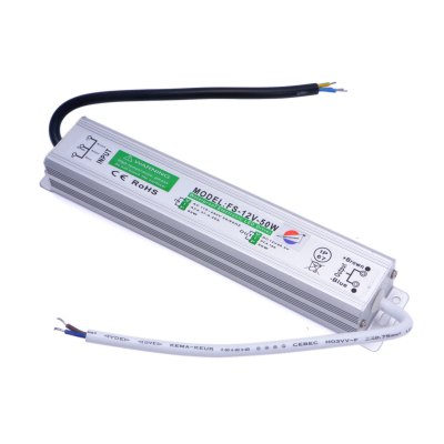 FS-12V-50W 50W 12V / 4.16A Waterproof IP67 Switch Power Supply for LED Light ( AC 110 - 250V )Power<br>FS-12V-50W 50W 12V / 4.16A Waterproof IP67 Switch Power Supply for LED Light ( AC 110 - 250V )<br><br>Certificate: CE<br>Operating voltage: 12V<br>Package Contents: 1 x Power Supply<br>Package Size(L x W x H): 25 x 4.8 x 4.5 cm / 9.83 x 1.89 x 1.77 inches<br>Package weight: 0.440 kg<br>Product Size(L x W x H): 20.1 x 3.6 x 2.7 cm / 7.90 x 1.41 x 1.06 inches<br>Product weight: 0.325 kg<br>Type: LED module