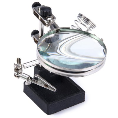 WLXY JM - 508 Multi-functional Welding Magnifying Glass Soldering Iron Stand Holder Table MagnifierMagnifiers<br>WLXY JM - 508 Multi-functional Welding Magnifying Glass Soldering Iron Stand Holder Table Magnifier<br><br>Brand: WLXY<br>Color: Multi-color<br>Function: A useful aid for soldering work or model makers<br>Material: Metal<br>Model: JM - 508<br>Package Contents: 1 x Magnifier, 1 x Welded Holder, 1 x Base, 1 x Soldering Iron Stand<br>Package size (L x W x H): 14.5 x 9.6 x 7.1 cm / 5.70 x 3.77 x 2.79 inches<br>Package weight: 0.748 kg<br>Product size (L x W x H): 17.3 x 15.0 x 13.5 cm / 6.80 x 5.90 x 5.31 inches<br>Product weight: 0.662 kg<br>Special features: Professional WLXY JM - 508 magnifier soldering iron stand holder table magnifying glass<br>Type: Other hardware tools