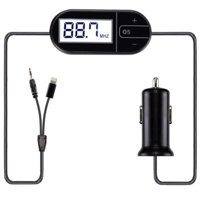 1101 3.5mm Jack Radio FM Transmitter with Car Charger 8 Pin Interface Cable