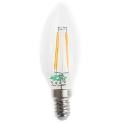 2Pcs Zweihnder E14 4W 380Lm Edison Sapphire Filament Bulb Tungsten Candle Lamp ( 3000 - 3500K )Edison Bulbs<br>2Pcs Zweihnder E14 4W 380Lm Edison Sapphire Filament Bulb Tungsten Candle Lamp ( 3000 - 3500K )<br><br>Angle: 360<br>Available Light Color: Warm White<br>Brand: Zweihnder<br>Bulb Base Type: E14<br>CCT/Wavelength: 3000-3500K<br>Features: Retro Edison Style<br>Function: Outdoor Lighting, Studio and Exhibition Lighting, Home Lighting<br>Lifespan: 50000 hrs<br>Luminous Flux: 380Lm<br>Output Power: 4W<br>Package Contents: 2 x Zweihnder E14 4W 380Lm Tungsten Light<br>Package size (L x W x H): 12.5 x 8 x 5 cm / 4.91 x 3.14 x 1.97 inches<br>Package weight: 0.060 kg<br>Product size (L x W x H): 10 x 3.5 x 3.5 cm / 3.93 x 1.38 x 1.38 inches<br>Product weight: 0.026 kg<br>Rated Luminous Flux: 400Lm<br>Sheathing Material: Glass<br>Type: Candle Bulbs<br>Voltage (V): AC 220-240