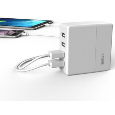 360 Frosted 4 Ports USB Smart Desktop Charger with Auto Detect Technology / Folding Plug for iPhone iPad Samsung Android