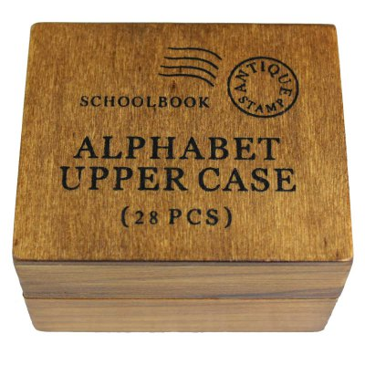 26 Capital English Letters Funny Punctuation Style Wooden Letter Seal Set 28Pcs