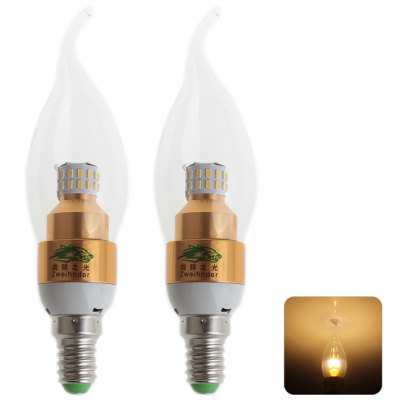 2 Pcs Zweihnder E14 3W 30 SMD 3014 LEDs Candle Light with Pull Tail ( 110 - 240V 3000 - 3500K )