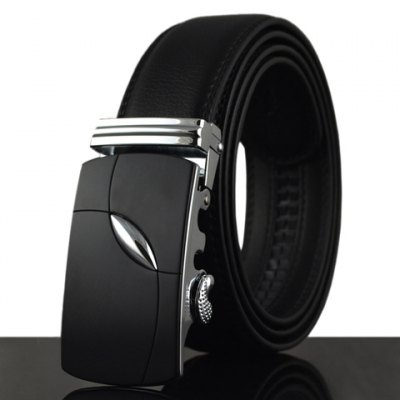 Stylish Alloy Buckle Solid Color Faux Leather Belt For Men