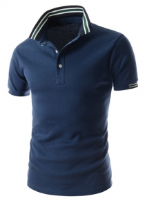 Refreshing Turn-down Collar Stripes Splicing Fitted Short Sleeves Men's Polyester Polo T-Shirt