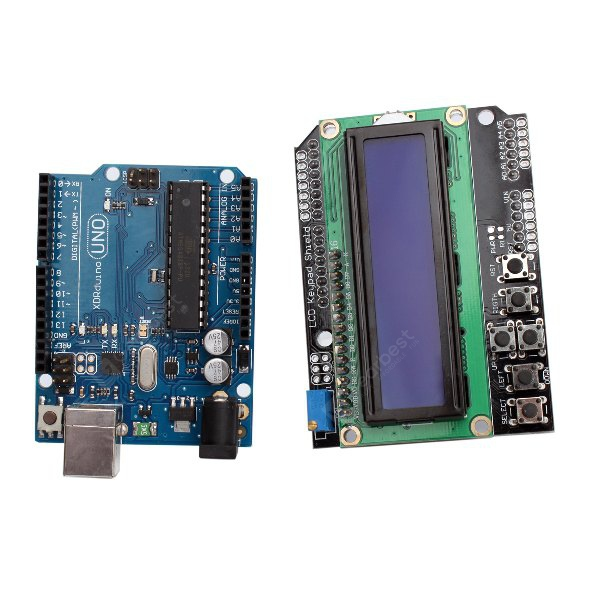 UNO R3 + LCD 1602 5V Support Multi-Systems Keypad Shield Module for Arduino (Blue Screen)