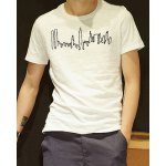 Buy Preppy Style Slimming Round Neck Abstract Pattern Solid Color Short Sleeves Men's T-Shirt