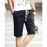 Buy Fashion Lace-Up Candy Color Fitted Straight Leg Men's Cotton Blend Shorts 2XL BLACK