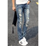 cheap Fashion Holes and Cat's Whisker Design Slimming Narrow Feet Men's Jeans