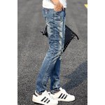 Fashion Holes and Cat's Whisker Design Slimming Narrow Feet Men's Jeans deal