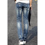 Fashion Holes and Cat's Whisker Design Slimming Narrow Feet Men's Jeans for sale