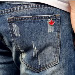 Fashion Holes and Cat's Whisker Design Slimming Narrow Feet Men's Jeans photo