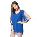 Stylish V-Neck 3/4 Sleeve Hollow Out Chiffon Dress For Women photo