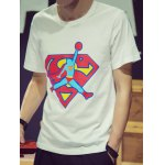 Buy Fashion Round Neck Slimming Cartoon Superman Print Short Sleeve Cotton Blend T-Shirt Men L