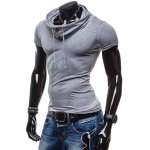 cheap Summer Fashion Piles Collar Slimming Solid Color Button Design Short Sleeve Polyester T-Shirt For Men