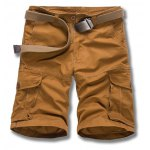Buy Military Uniform Style Trendy Solid Color Multi-Pocket Straight Leg Loose Fit Cotton Blend Summer Shorts Men 38 EARTHY