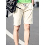 Buy Casual Straight Leg Pocket Embellished Lace-Up Men's Cotton+Linen Shorts XL KHAKI