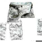Buy Military Uniform Style Trendy Ethnic Floral Print Multi-Pocket Straight Leg Loose Fit Cotton Blend Summer Shorts Men 34