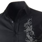 Refreshing Fitted Turn-down Collar Beads Embellished Long Sleeves Men's Cotton Blend Shirt deal