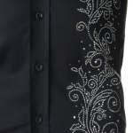 best Refreshing Fitted Turn-down Collar Beads Embellished Long Sleeves Men's Cotton Blend Shirt