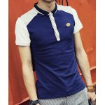 Buy Sapphire blue Fitted Trendy Turn-down Collar Multicolor Splicing Short Sleeves Men's Cotton Blend Polo T-Shirt-16.11 Online Shopping GearBest.com