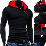 cheap Trendy Long Sleeves Hooded Personality Inclined Zipper Design Slimming Solid Color Men's Cotton Blend Hoodies