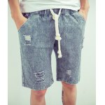Buy Vintage Style Slimming Lace-Up Hole Embellished Straight Leg Men's Striped Shorts 2XL