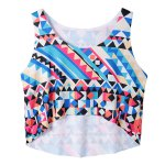 cheap Fashionable Scoop Neck Geometric Loose-Fitting Crop Top For Women