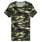 Buy Trendy Round Neck Camouflage Pattern Slimming Short Sleeve Cotton Blend T-Shirt Men