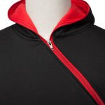 Trendy Long Sleeves Hooded Personality Inclined Zipper Design Slimming Solid Color Men's Cotton Blend Hoodies for sale