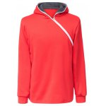 Buy Trendy Long Sleeves Hooded Personality Inclined Zipper Design Slimming Solid Color Men's Cotton Blend Hoodies XL RED