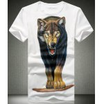 Buy White Summer Style Plus Size Fitted Round Neck Animal Wolfhound Pattern Short Sleeves Men's 3D Printed T-Shirt-13.65 Online Shopping GearBest.com