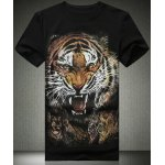 Buy Black Stylish Plus Size Fitted Round Neck Animal Tiger Pattern 3D Printed Short Sleeves Men's T-Shirt-13.02 Online Shopping GearBest.com