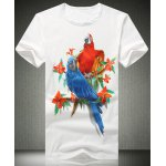Buy White Trendy Fitted Plus Size Round Neck Animal Parrot Pattern Short Sleeves Men's 3D Printed T-Shirt-12.84 Online Shopping GearBest.com