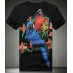 Buy Black Trendy Fitted Plus Size Round Neck Animal Parrot Pattern Short Sleeves Men's 3D Printed T-Shirt-12.84 Online Shopping GearBest.com