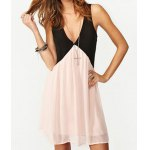 cheap Sexy Plunging Neck Sleeveless Hollow Out Color Block Women's Dress